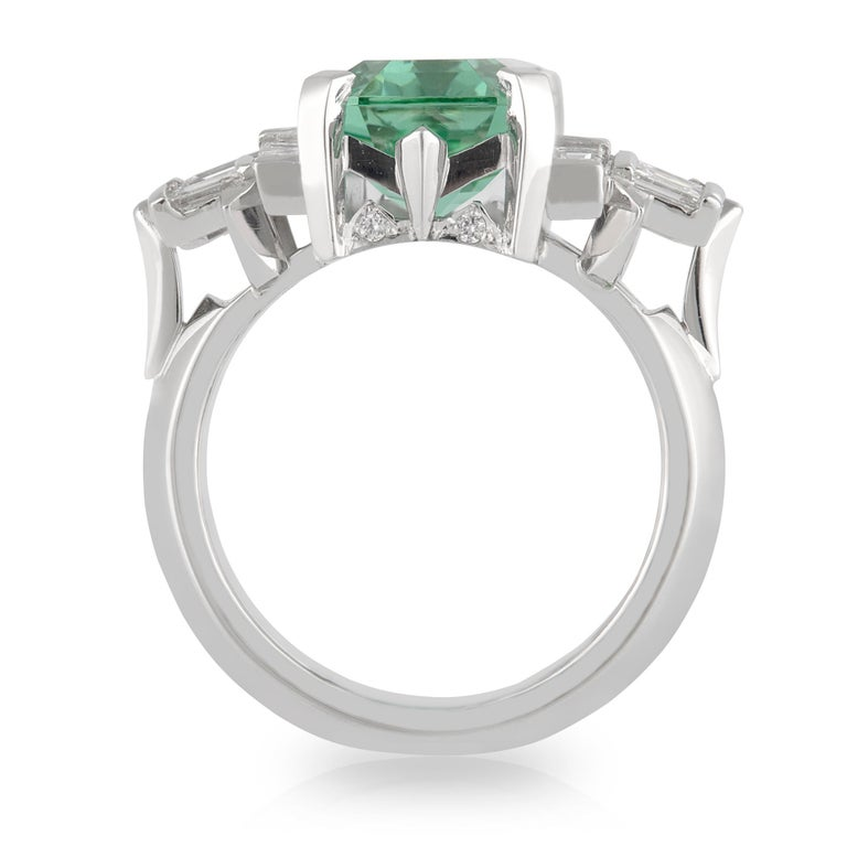 Octagon Cut Handmade White Gold Mint Tourmaline and Baguette Diamond Geometric Ring For Sale