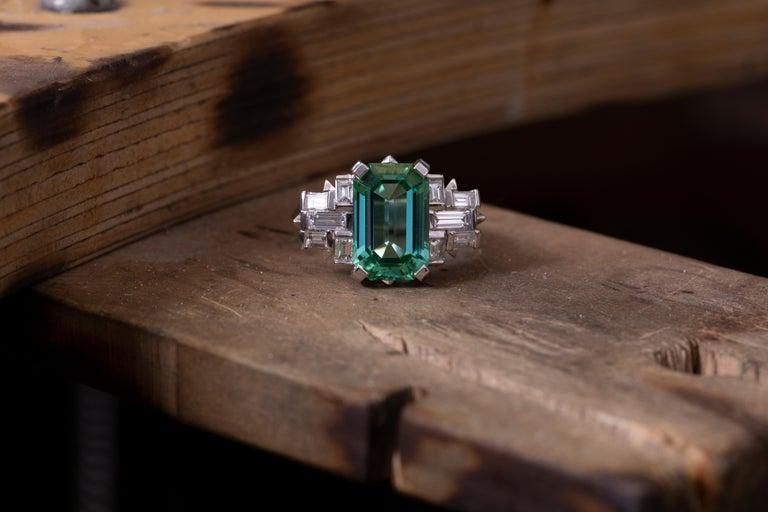 Women's Handmade White Gold Mint Tourmaline and Baguette Diamond Geometric Ring For Sale