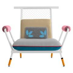 Handmade White & Orange PK6 Armchair, Carbon Steel & Metal Mesh by Paulo Kobylka