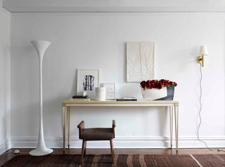 Organic Modern Handmade White Plaster Torchiere, KACPER DOLATOWSKI For Sale