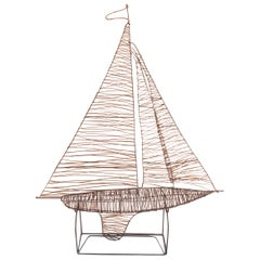 Handmade Wire Sailboat Sculpture with Stand