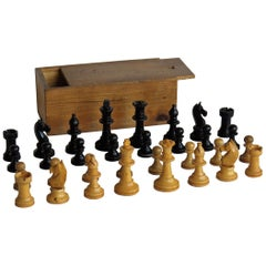 Handmade Wood Chess Set Complete Game in Pine Lidded Box, circa 1920