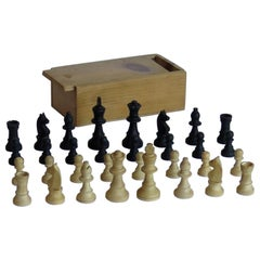 Handmade Wood Complete Chess Set Game in Pine Lidded Box, circa 1930