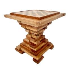 Handmade Wood Hourglass Chess Table