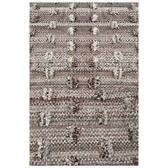 Handmade Wool Cut Pile Organic Modern Rug, in Stock