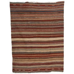 Handmade Woven Wool Tapestry Rug Rich Bohemian Sea of Color, 1970s