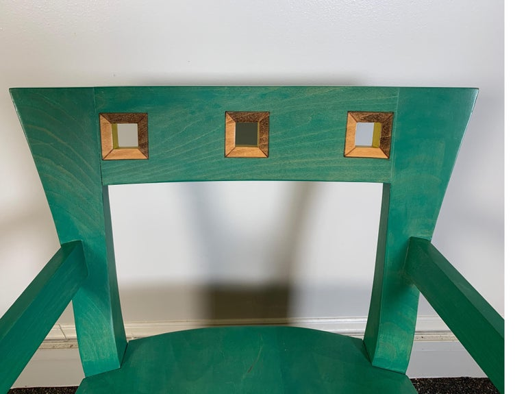Stained Hand Painted Chair Designed by Katherine Stevens For Sale