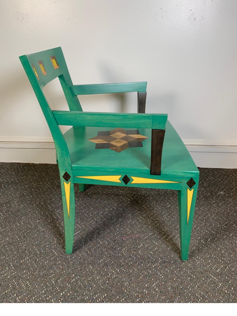 Hand Painted Chair Designed by Katherine Stevens In Excellent Condition For Sale In Lambertville, NJ