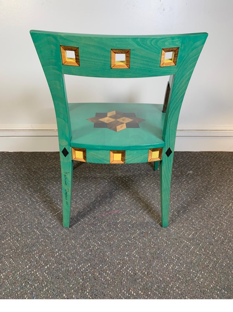 Contemporary Hand Painted Chair Designed by Katherine Stevens For Sale
