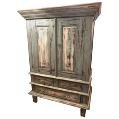 Handpainted Country Distressed Storage Cabinet Armoire
