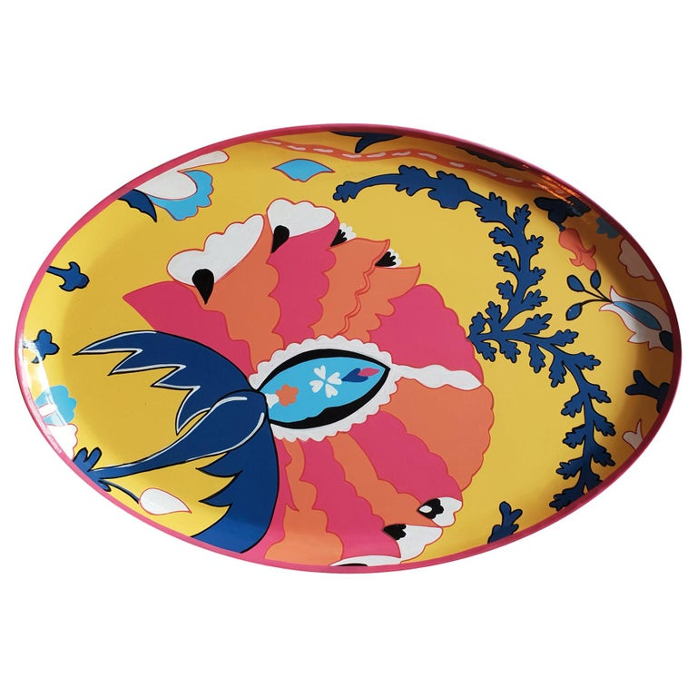 Hand Painted Ikat Red Flower Iron Tray For Sale