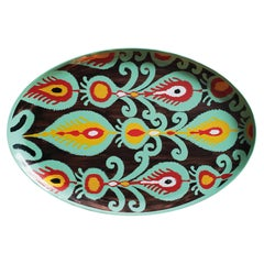 Hand Painted Ikat Turquoise Flower Iron Tray