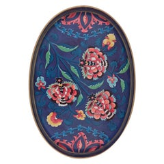 Handpainted Persian Iron Tray Flowers