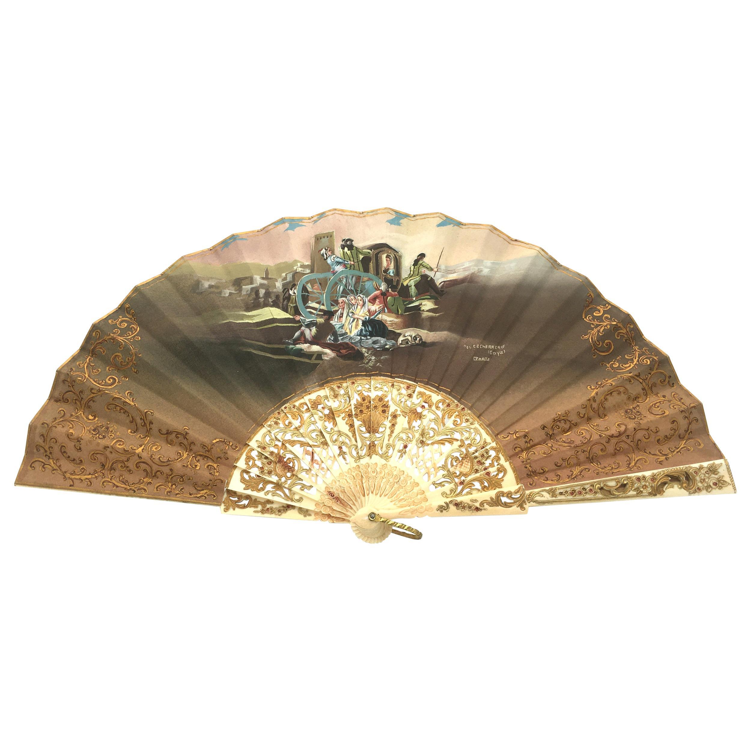 Hand Painted Small Goya Fan-El Cacharrero, 19th Century