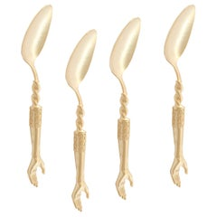 Gold Plated Hands Tea Spoons by Natalia Criado