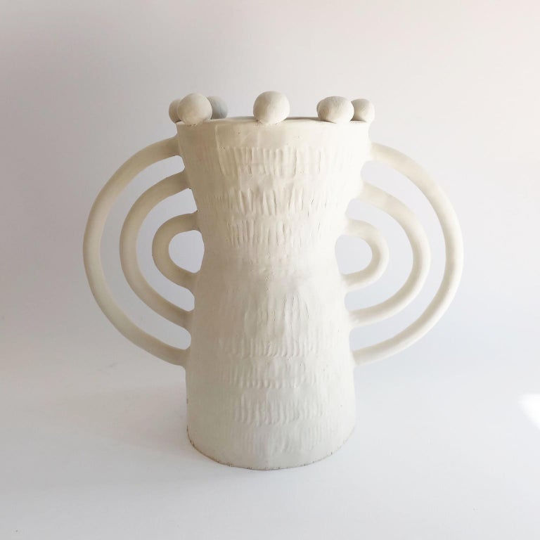 Handsculped Alcazar table lamp by Ia Kutateladze Dimensions: W 32 x H 26 cm Materials: Raw white clay  Alcazar lamp combines hand-built organic structure, with soft geometric elements and shapes, an object full of character.  IAAI / Ia