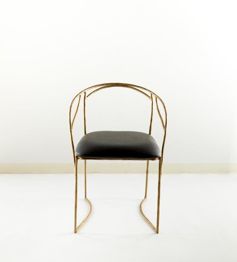 Chair by Masaya Dimensions: 79 x 56 x 48 cm Brass Handsculpted.