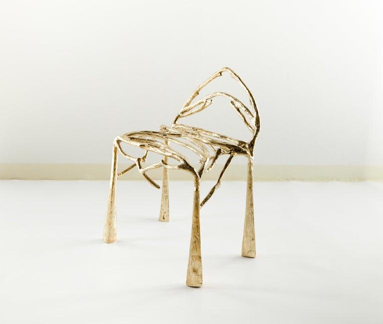 Chair by Masaya Dimensions: 65 x 53 x 50 cm Brass Handsculpted.