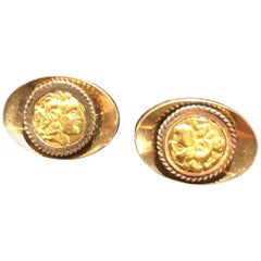 Handsome 18K Gold Cufflinks With Greek Coin Style Insets.