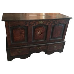 Handsome 18th Century English Oak Chest with Star Inlay, Dated 1730 Great Patina
