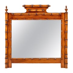 Handsome 19th Century English Pine Faux Bamboo Mirror, Great Color and Scale
