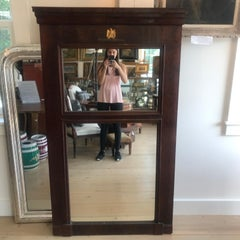 Handsome 19th Century French Empire Mahogany Trumeau Mirror with Bronze Eagle