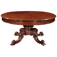Handsome 19th Century Mahogany Dining Table with Unusual Wind-Out Mechanism