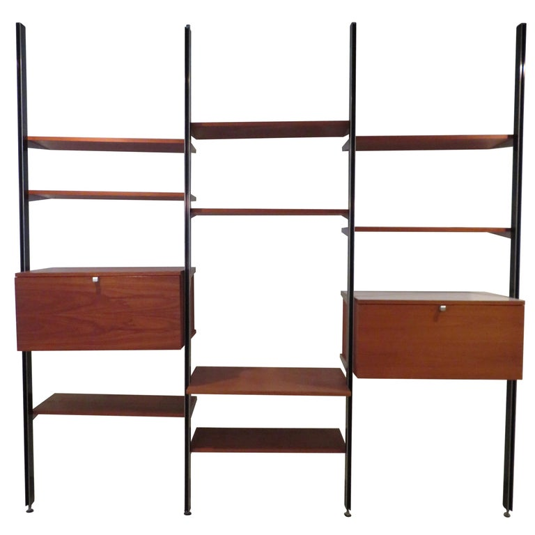 Handsome 3 Bay George Nelson Herman Miller CSS Wall Unit Mid-Century Modern For Sale