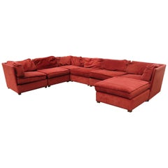 Handsome 7-Piece Milo Baughman Style Sectional Sofa Mid-Century Modern