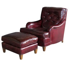 Handsome American Chesterfield Club Chair and Ottoman