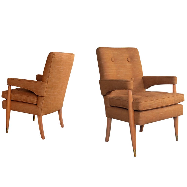 Handsome and Stylish Pair of American Midcentury High-Back Upholstered Armchairs For Sale