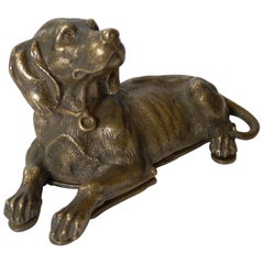 Handsome Antique English Bronze Dog Double Postage Stamp Box, c.1880