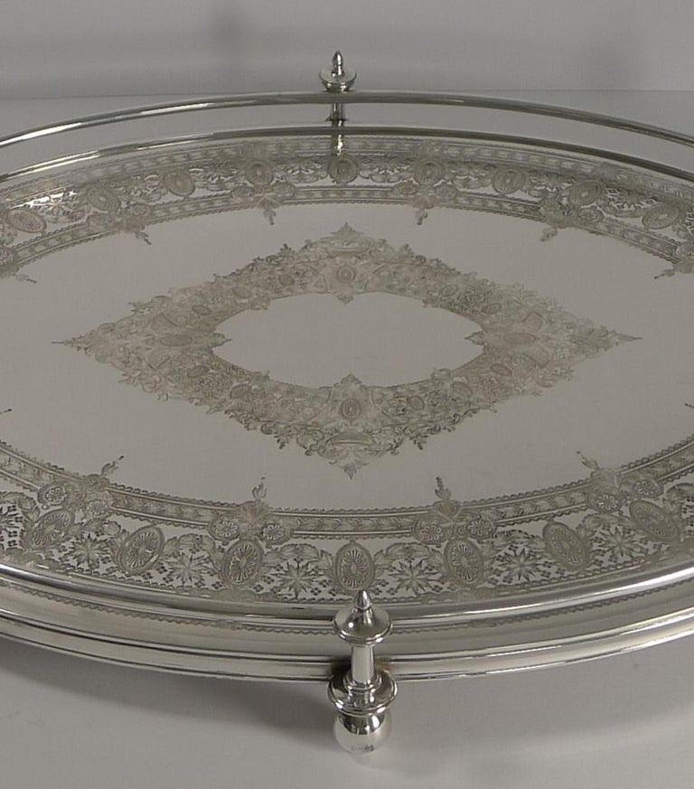 Late 19th Century Handsome Antique English Silver Plated Serving Tray, circa 1890 For Sale