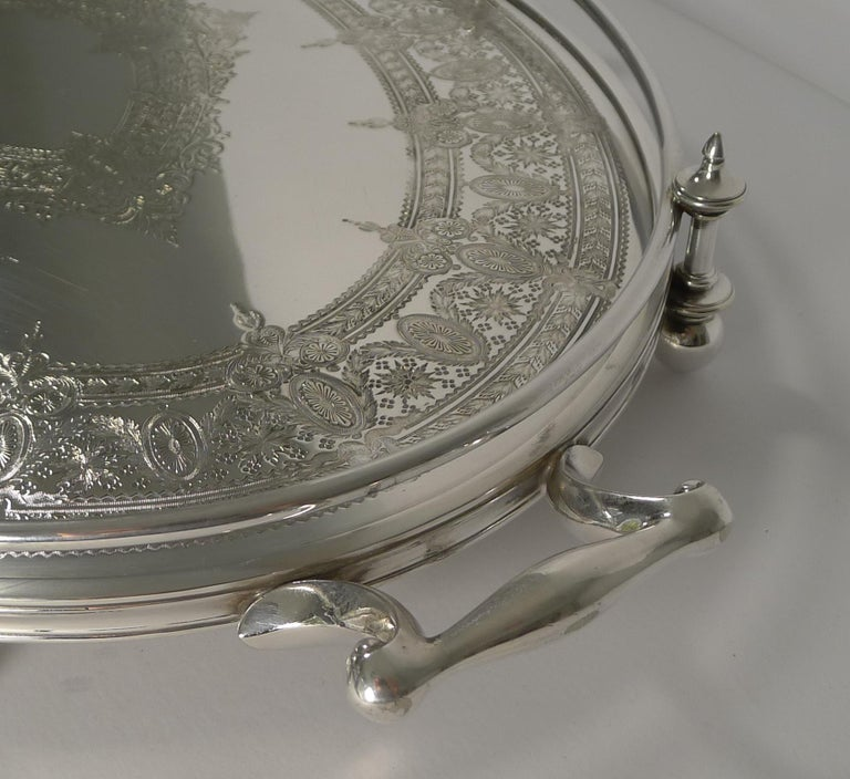 Handsome Antique English Silver Plated Serving Tray, circa 1890 For Sale 1