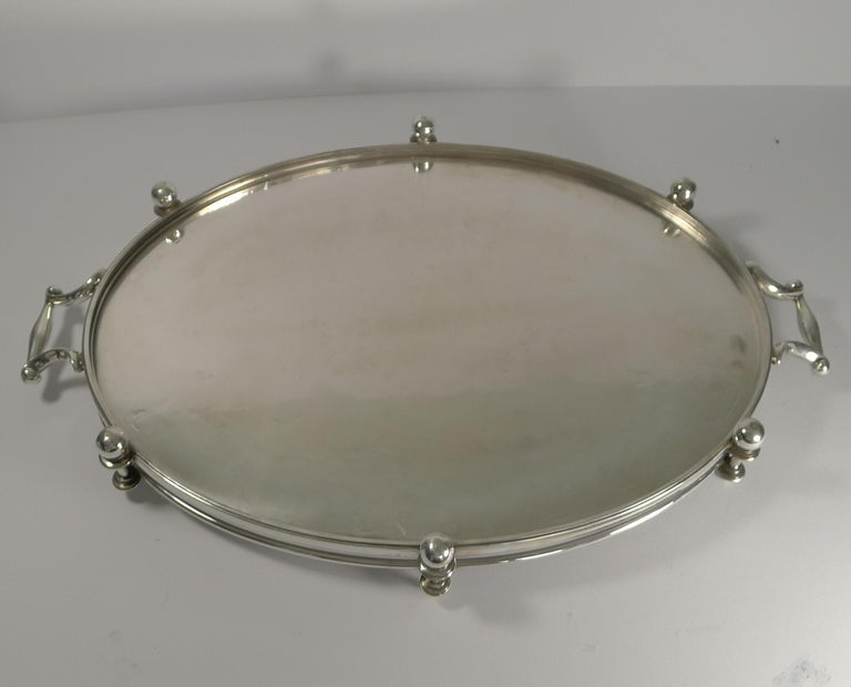 Handsome Antique English Silver Plated Serving Tray, circa 1890 For Sale 2