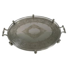 Handsome Antique English Silver Plated Serving Tray, circa 1890