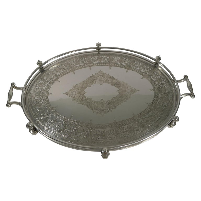 Handsome Antique English Silver Plated Serving Tray, circa 1890 For Sale