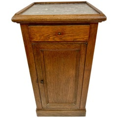 Handsome Antique Oak and Marble Cabinet Stand