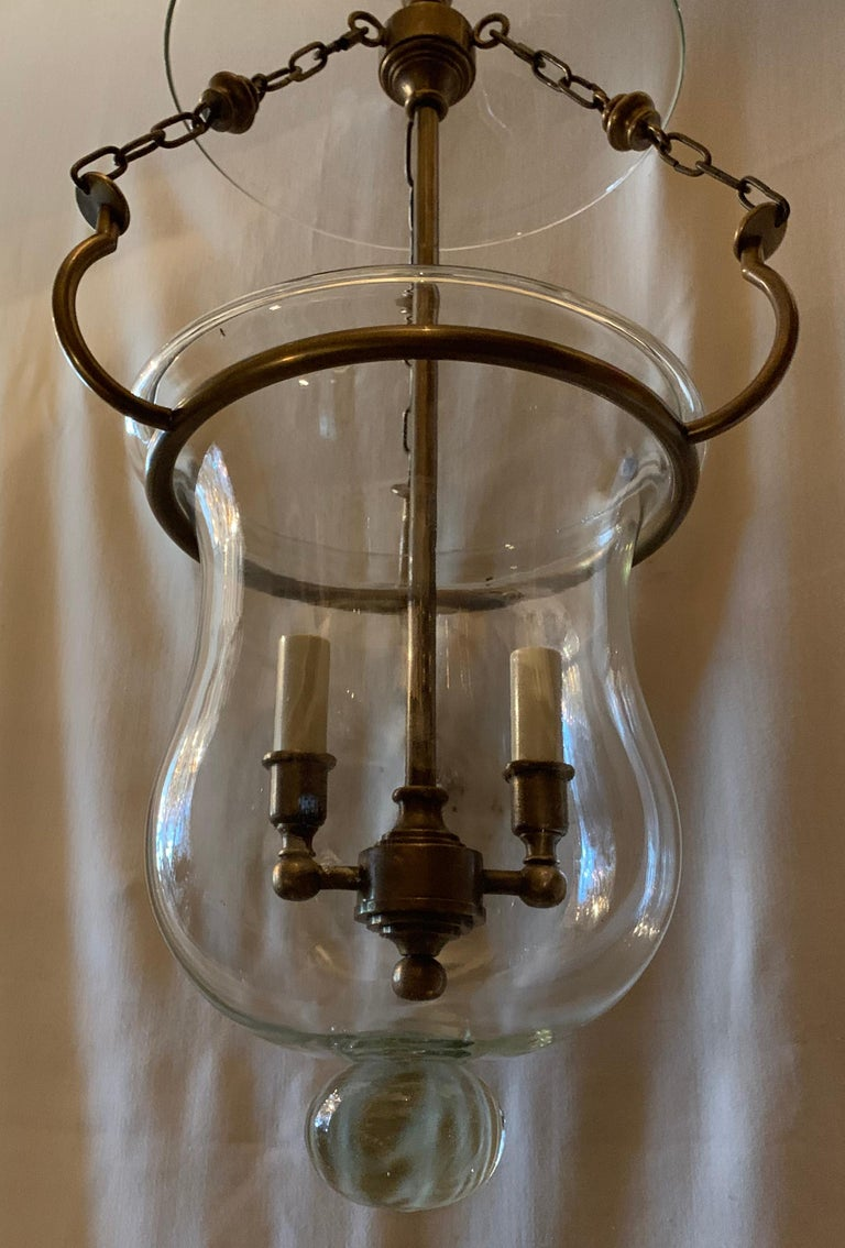 Regency Handsome Blown Glass Bronze Bell Jar Lantern 2-Light Fixture Vaughan England For Sale