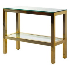 Handsome Brass and Glass Console Table in the Style of Milo Baughman