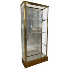 Handsome Brass Display Standing Cabinet, France, 1930s