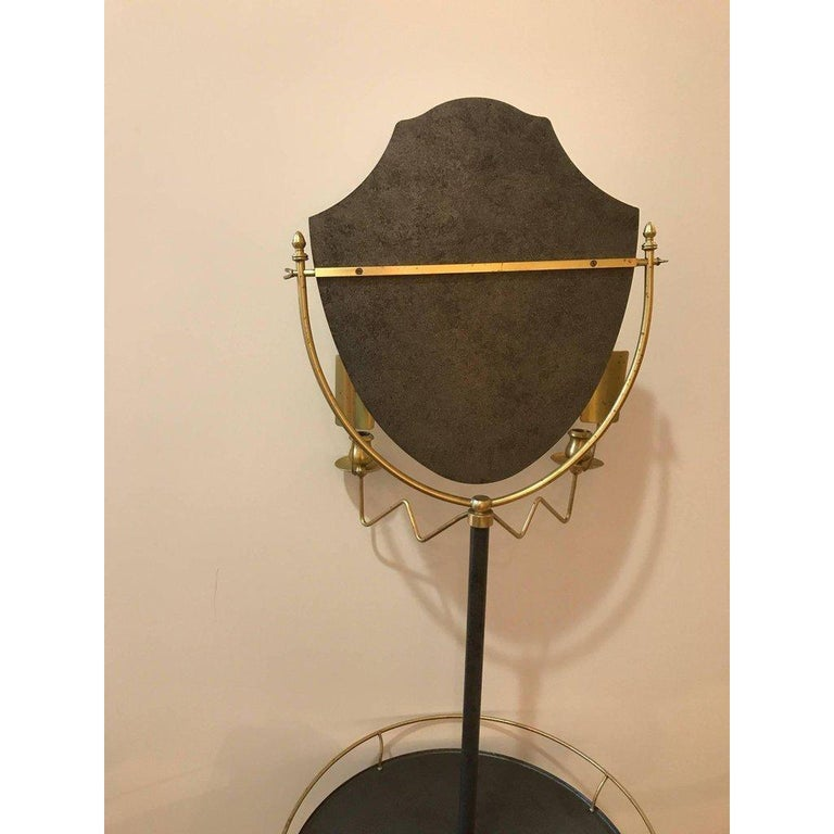 American Handsome Brass and Galvanized Metal Standing Shaving Stand For Sale