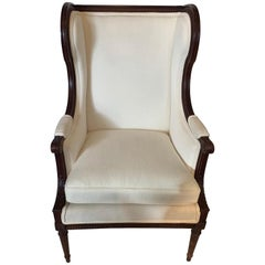 Handsome Carved Walnut and Upholstered Wingback Club Chair