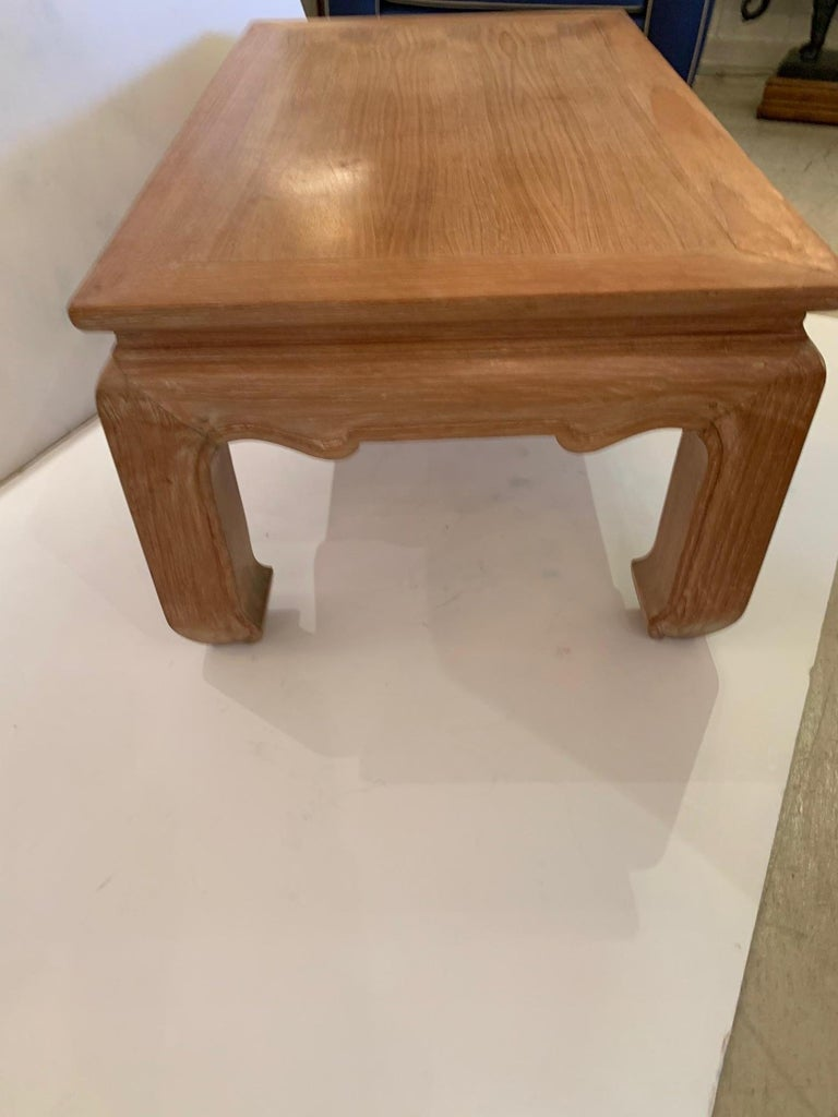 Handsome Cerused Wood Asian Style Cocktail Table For Sale 3