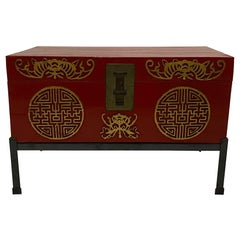 Handsome Chinese Red Trunk on Custom Iron Stand