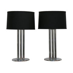 Handsome Chrome Column Lamps, Pair
