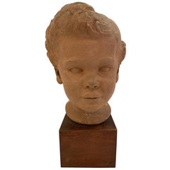 Handsome Clay Bust of Child