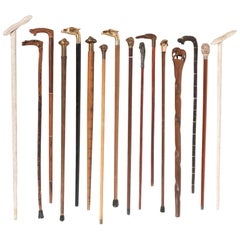 Handsome Collection of 16 19th Century English Walking Sticks, Some with Daggers