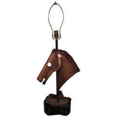 Handsome Copper Heifetz Horse Head Lamp Midcentury Danish Modern