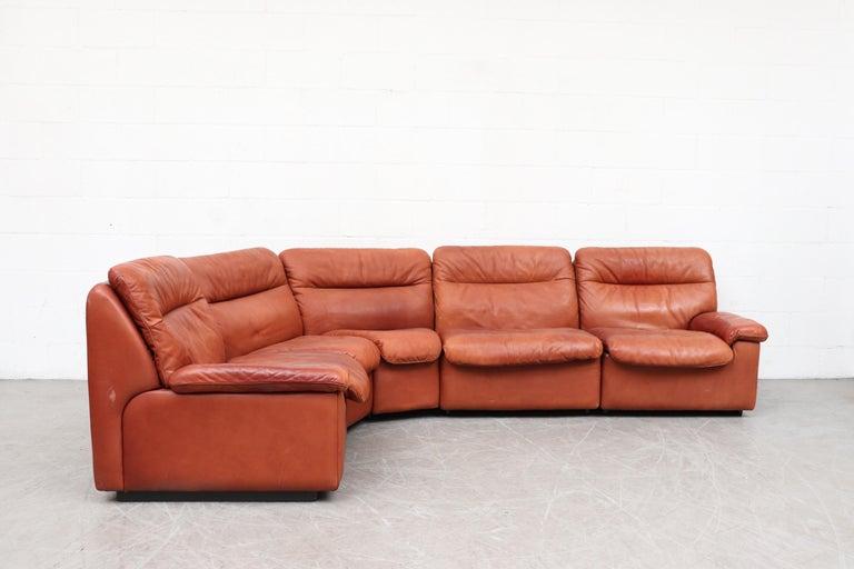 Mid-Century Modern Handsome De Sede DS 66 5-Piece Cognac Leather Sectional Sofa For Sale